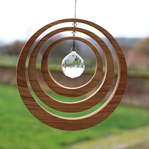 Exzentrik Fensterdeko Aus Holz Mit Bleikristall, Fensterschmuck Mit Glaskristall, Moblile Handmade, Fensterdekoration Geschenkidee