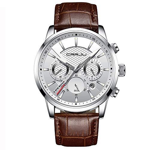 Relojde Cuero clásico para Hombres, Deporte Funcional, Relojde Pulsera de Cuarzo Resistente al Agua, Relojde Calendario, Relojde Negocios, Relojmasculino