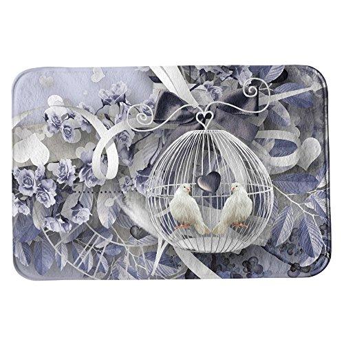 SuaveMats Tapis de Salle de Bain Douche paillasson Anti-dérapant - (Artistic Flower Floral Bird Dove Ribbon Birdcage Blue White)