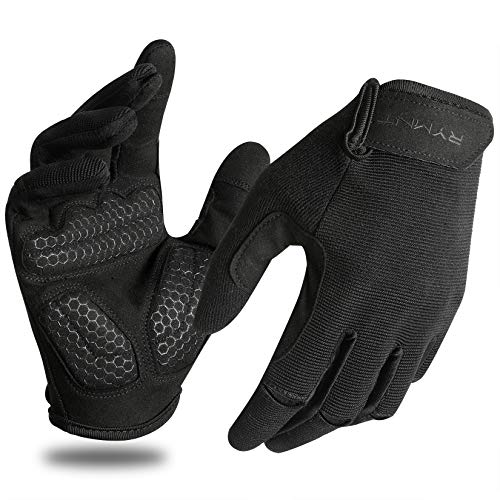 RYMNT Full Fingers Workout Gloves for Women Men-Gym Gloves for Women Weight Lifting, Exercise Crossfit Gloves-Touch Screen-Extra Grip Foam-Padded-Anti-Slip for Fitness,Training,Cycling.Black-Small