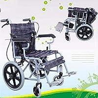 WEI-LUONG 車椅子 軽量鉄骨と車椅子運輸車椅子、足休符とHandbrakesと折りたたみ椅子、大型16インチホイールバック、高齢者、障害者のための41センチメートルワイドシート、および無効化 自走用車椅子