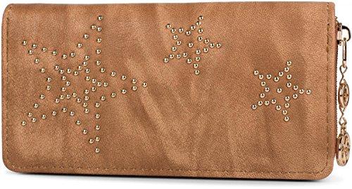 styleBREAKER vintage portemonnee met sterretjes gemaakt van bolletjes, rits, portemonnee, dames 02040045, Farbe:Bruin
