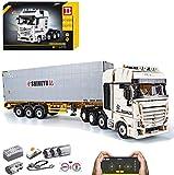 BSPAS Technik LKW mit Container Ferngesteuert Auto, 4478 Teile Technic LKW Modell mit Motoren, Akku/Empfänger und Fernsteuerung Set Kompatibel mit Lego Technik