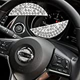 Bling Crystal Car Steering Wheel Emblem Logo Sticker Compatible with Nissan, DIY Rhinestone Decals Caps Covers Emblem Accessories Interior Decorations for Women