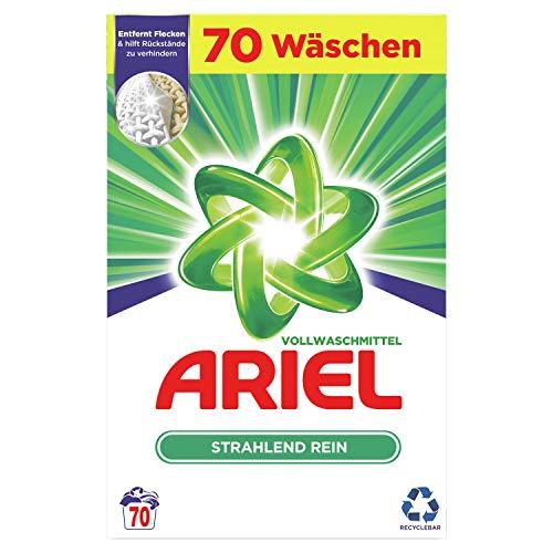 Ariel Waschmittel Pulver, Waschpulver, Vollwaschmittel, 70 Waschladungen, Strahlend Rein (4.5 kg)