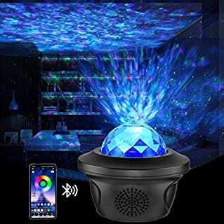 Night Light Projector,AUELEK LED Light Projector, Star Lights and Ocean Wave Galaxy Projector with Music Bluetooth Speaker Sound Sensor and Remote Control 10 Color 360°Rotating Support U Disk to Play