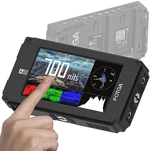 """Fotga A50TLS Monitor de campo de pantalla táctil de video FHD de 5 """", LUT 3D, 3G SDI y entrada / salida HDMI 4K, 1920x1080, doble placa de NP-F para Sony A7 A7R A7S II II Nikon D7200 D850 PANASONIC"""