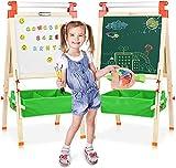 Joyooss - Cavalletto per pittura e lavagna, in legno, per bambini