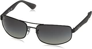 RAY-BAN Men's RB3445 Rectangular Metal Sunglasses, Matte Black/Polarized Grey, 64 mm