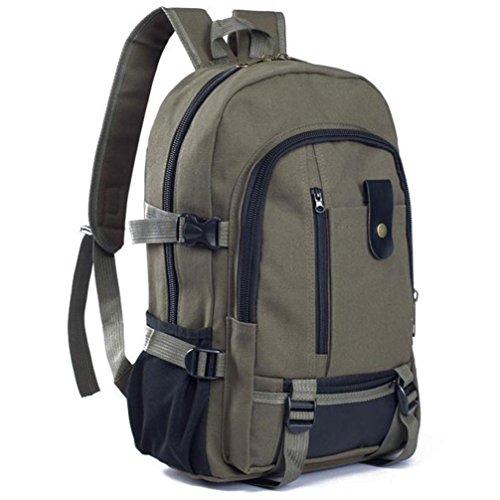 Heren Rugzak, Brezeh Mode Eenvoudige Tweepersoons Canvas SchoolbaG Free Size Leger Groen