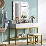 Tribesigns Gold Vanity Table Set with Lighted Mirror and Drawer, Makeup Vanity Dressing Table with 9 Lights and Storage Shelves for Women, Dresser Desk Vanity Set with Cushioned Stool for Bedroom
