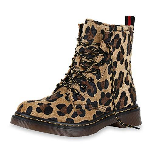 SCARPE VITA Damen Stiefeletten Worker Boots Leicht Gefütterte Outdoor Schuhe 174244 Leopard Prints...