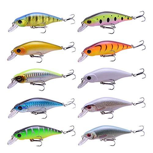 PACPL 10pc Fishing Lures Minnow Crank Seures 90mm 11g Sistema de Balance Cebo Duro Wobblers Crankbait Aparejos de Pesca (Color : 10PC)