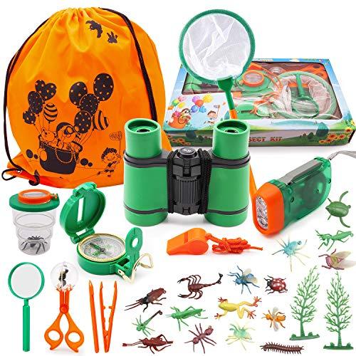 SPECOOL Kinder Fernglas Spielzeug Set, Draussen Forscherset Kit Abenteuerspielzeug für Kinder mit Kompass Lupe Insektensammler,Tolles Lernen Camping Wander Geschenk für Jungen und Mädchen Fernrohren