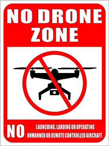 Outdoor/Indoor Large Size 12' X 9' - NO Drone Zone No Unmanned or Remote Controlled Aircraft - Caution Warning Sign Vinyl Label Sticker Decal - Back Self Adhesive Vinyl