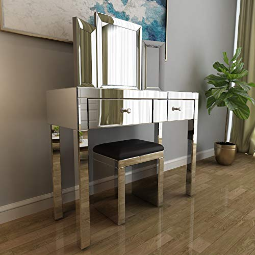 Mecor Mirrored Vanity Table Set w/Tri-fold Mirror&Cushioned Stool Silver Makeup Dressing Table with 2 Drawers Modern Writing Desk for Bedroom Bathroom Home Office