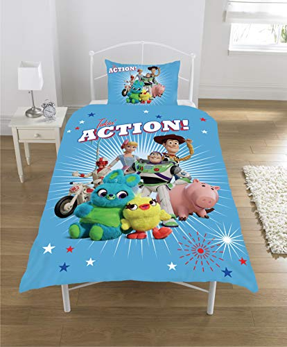 Habigail Official Toy Story 4 Single Duvet Cover Takin Action Design | Reversible Two Sided Bedding Duvet Cover Featuring Woody & Buzz Lightyear With Matching Pillow Case (Multicolour)