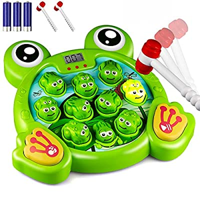 KKONES Music Super Frog Game Toddler Toys - 2 Hammers Baby Interactive Fun Toys Toddler Activities Games with Music and Light Gift for Kids Ages 2 3 4 5 6 7 8 Year Old Boys Girls