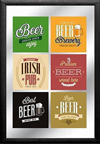 empireposter–Beer–Labels–Dimensioni (cm), ca. 20X 30–Specchio con Cornice, Nuovo–Descrizione:–Quadro Specchio da Parete con Cornice in plastica Nera Effetto Legno