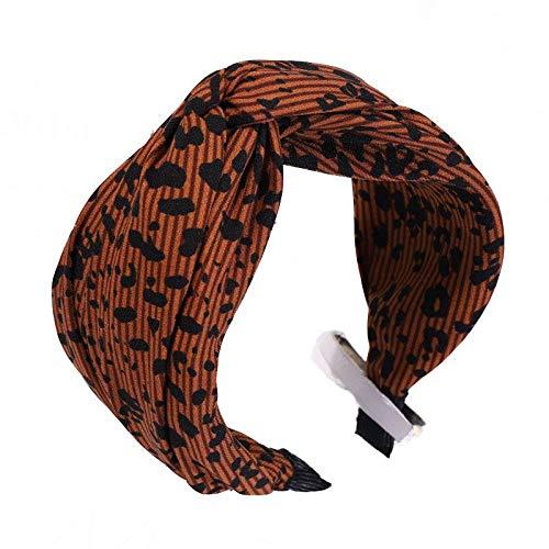 Dames vintage brede haarband leopard marron