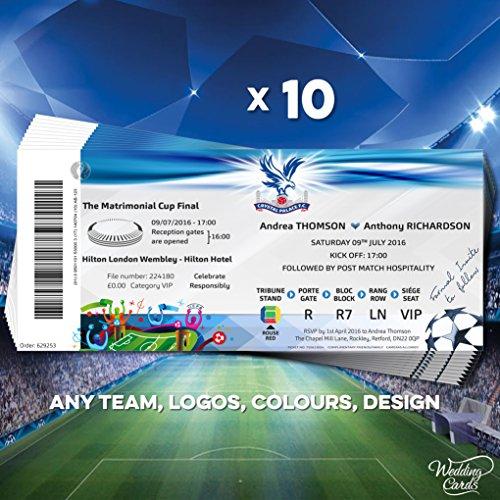 10x Personalisierte Fußball Tickets Hochzeit Einladungen Karten Einladungen Einladung Teams Match Final Einzigartige Weise jeder Größe Farbe personalisierbar jeder Text A4A5A6A7