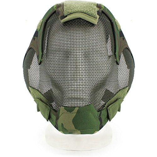 haoyk Tactical Airsoft Stahl Net Zaungeflecht Cosplay Maske Full Cover Face Schutz Militär Paintball Maske, Woodland