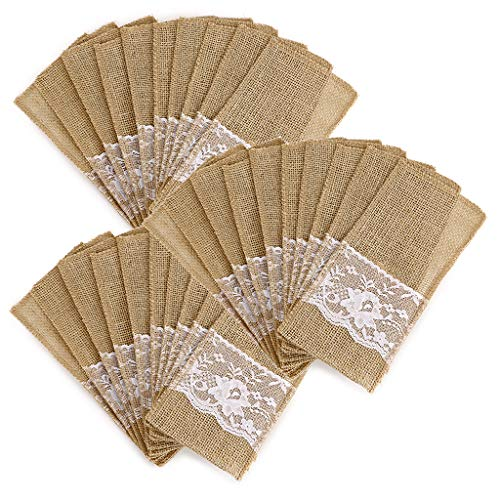 OwnMy Natural Burlap Tableware Utensil Holders Burlap Lace Silverware Holder Linen Knife and Forks Cutlery Pouch Bag for Vintage Rustic Wedding Party (Beige-30 Packs)