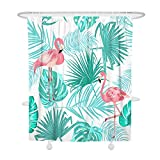 Oduo Duschvorhänge für Badewannen - 3D Flamingo Drucken Duschvorhang Wasserdicht Antischimmel Bad Vorhang Waschbar Badewanne Vorhang mit 12 Duschvorhangringe (Palmblatt,120x180cm)