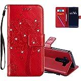 COTDINFOR LG V10 Hülle für Mädchen Elegant Retro Premium PU Lederhülle Handy Tasche mit Magnet Standfunktion Schutz Etui für LG V10 Red Wishing Tree with Diamond KT.
