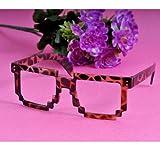 Nouveau cadre carrés lunettes de soleil mignonnes mosaïque style sans lentille(Leopard)...