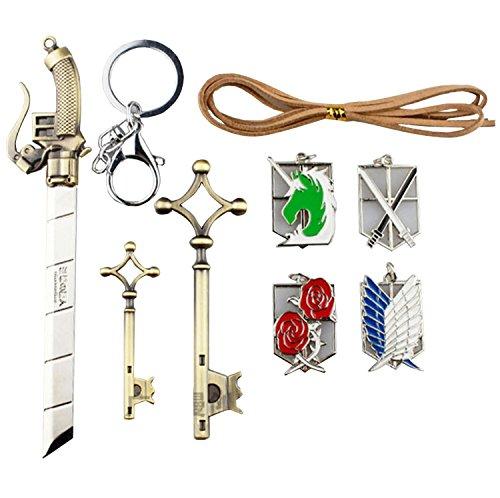 "NuoYa, Shingeki No Kyojin, set di ciondoli per collane 'L'Attacco dei Giganti"", badge + armi + chiavi"
