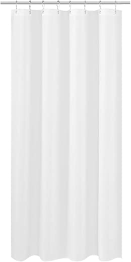 N&Y HOME RV Shower Curtain Liner Fabric 47 x 64 inches, Hotel Quality, Washable, Water Repellent, White Bathroom Curtains with Grommets, 47x64