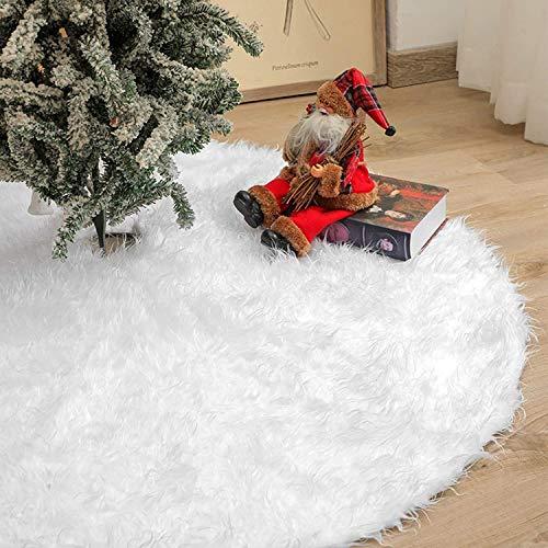 Rorchio Weihnachtsbaumdecke Weiß Plüsch Christmasbaumdecke,89CM Rund Tannenbaum-Unterlage Weihnachtsbaumteppich Ornamente Dekoration für Weihnachten