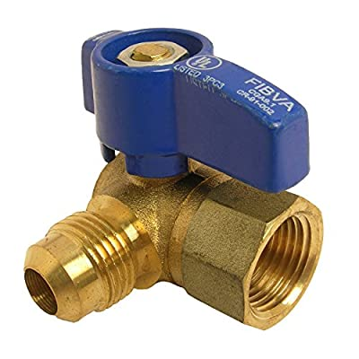 LASCO 10-1617 Angle Gas Ball Valve with 1/2-Inch Flare and 1/2-Inch Female Pipe Inlet, Brass by LASCO