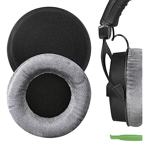 Geekria Comfort Velour - Almohadillas de repuesto para auriculares Beyerdynamic DT440 DT770 DT790 DT797 DT860 DT880 DT990 T5P T70 T90 HS200 HS400 HS800 MMX300 RSX700 (gris)