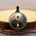 Timesuper Steampunk Tai Chi Photo Necklace Cabochon Glass Pendant Necklace Black 6