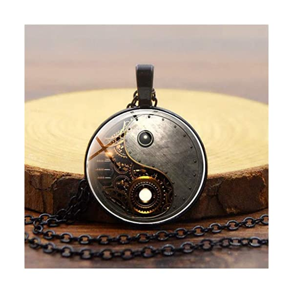 Timesuper Steampunk Tai Chi Photo Necklace Cabochon Glass Pendant Necklace Black 4