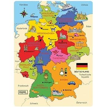 karte von deutschland mit hauptstädten Bartl 101818 Deutschland Karte Holzpuzzle Bundesländer Hauptstädte