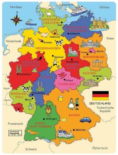 Bartl 101818 Deutschland-Karte Holzpuzzle Bundesländer Hauptstädte Landkreise