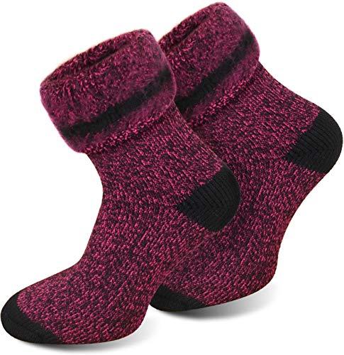 Polar Husky 3 Paar Sehr warme Socken mit Vollplüsch und Schafwolle/Nie wieder kalte Füße! Farbe Extrem Hot – Pink meliert Größe 35-38