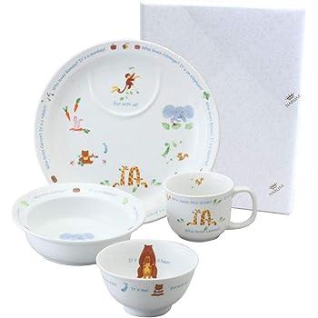 【NARUMIオリジナル包装済】NARUMI(ナルミ) 子ども用 食器セット みんなでたべよっ! 4点セット 電子レンジ オーブン対応 日本製 40433-33139AZ