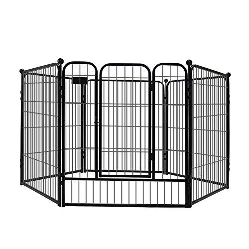 ZWW Hund Laufstall Mit Tür, Home Outdoor Hundezwinger Käfig rutschfeste Metallbarriere Für Den Innenbereich Übungszaun,70 * 80cm