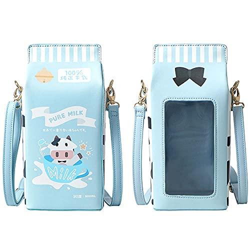 Ita Bag Fashion Milk box Clear Crossbody Bag Bolso de hombro Monedero Lolita JK Bag Anime Bag para ni?as-azul_METRO