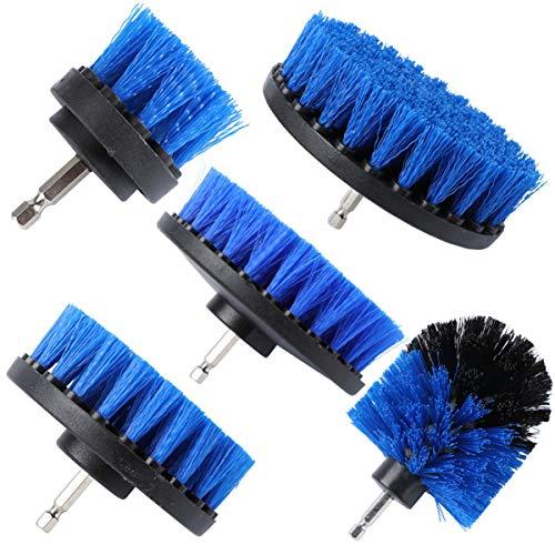 TINKSKY 5本のドリルブラシセット電動スクラバークリーニングブラシセット電子ドリルクリーニングブラシアタッチメント(ブルー)