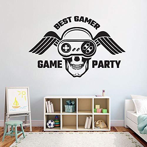 Mejor jugador pegatinas de pared juego pared ventana calcomanía arte pegatinas de pared decoración del hogar habitación de niños niño patrón de ala de calavera