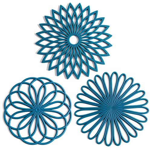 Set of 3 Silicone Trivet Mat - Hot Pot Holder Hot Pads for Table & Countertop - Trivet for Hot Dishes - Non-Slip & Heat Resistant Modern Kitchen Hot Pads for Pots & Pans, Teal