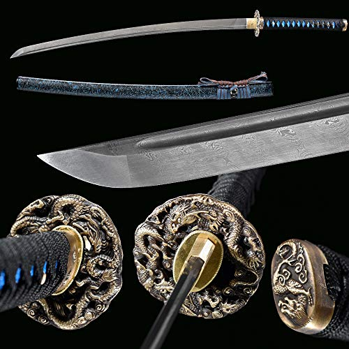 Handmade Japanese Samurai Katana Sword, Functional, Hand Forged, Damascus Steel, Heat Tempered/Clay Tempered, Full Tang, Sharp,Battle Ready,Wooden Scabbard,Sharp Knife…