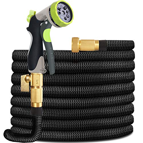 Garden Hose Lightweight Durable Flexible Water Hose with 3/4 Nozzle Solid Brass Connector and High Pressure Water Spray Nozzle Expanding Hoses (25)