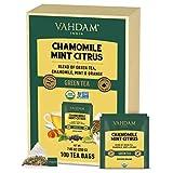 VAHDAM, Biologico Tè Verde Agrumato Camomilla e Menta (100 Bustine di Tè) | BASSO CONTENUTO DI CAFFEINA | Miscela di Tè Verde Lenitivo e Rilassante | 100% Tè Detox per Dormire Meglio