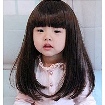 YYTA Short/Long Curly Wave Cosplay Wig Hair Adjustable Costume Synthetic Heat Resistant for 5-10 Years Children Girl + Free Mesh Wig Cap Hat  Brown Long Straight